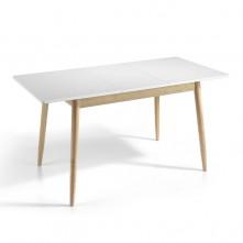 Mesa de comedor extensible de 120 cm blanco mate y roble
