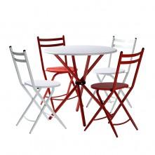 Conjunto Maya mesa redonda con sillas abatibles rojo y blanco
