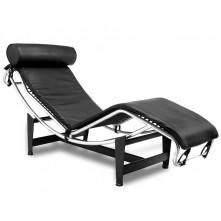 Sillón de relax reclinable en piel negra mod. Corbu