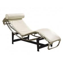Sillón de relax reclinable en piel blanca mod. Corbu