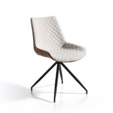 Pack 2 sillas de diseño tapizada en tejido beige