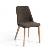 Pack 2 sillas madera roble y tapizado tela marrón